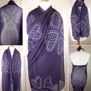 Purple Shawl with Hearts as Four Leaf Clovers Print