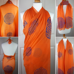 Orange Shawl with Flower of Life Sacred Geometry