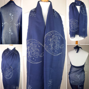 Navy Shawl with Crescent Moon & Stars