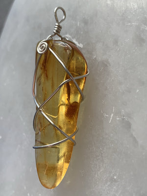Genuine Amber Wire Wrapped Pendant