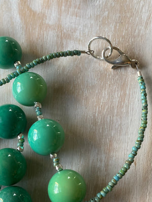 Cobaltite and Natural Green Grass Apatite Necklace