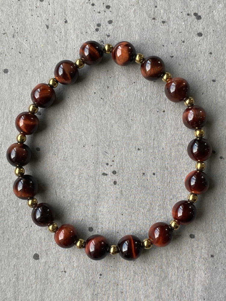 Red Tigers Eye with Hematite Bracelet