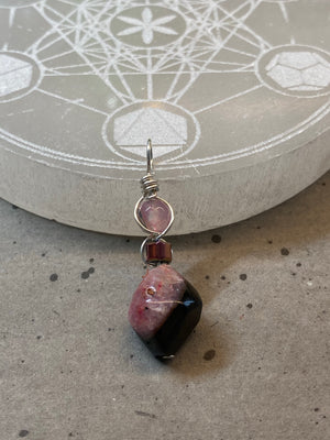 Agate Wire Wrapped Pendant - Dyed