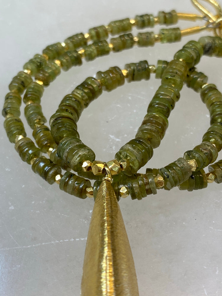 Hessionite (Green Garnet) Necklace