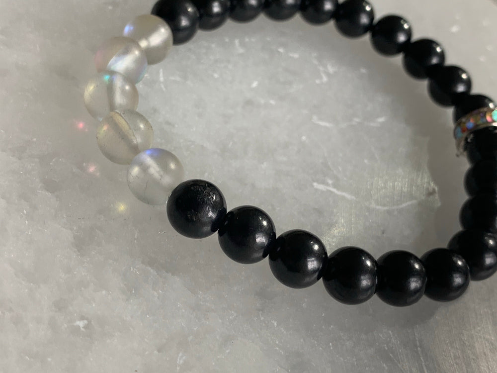 Shungite Bracelet with Aura Rock Crystal