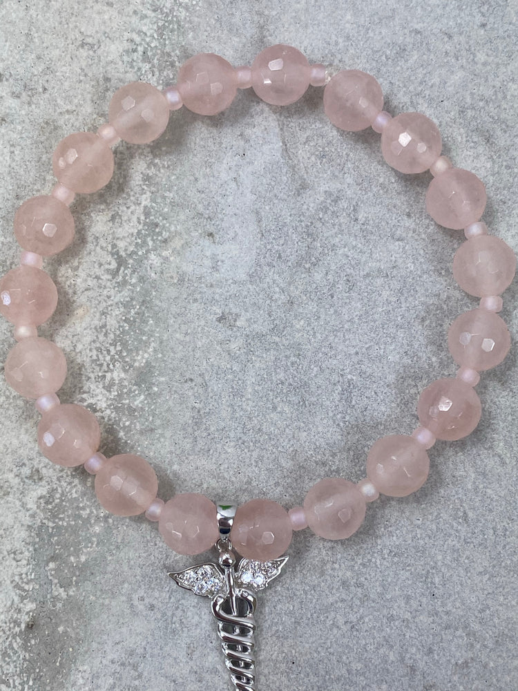 Bracelet - Rose Quartz Caduceus