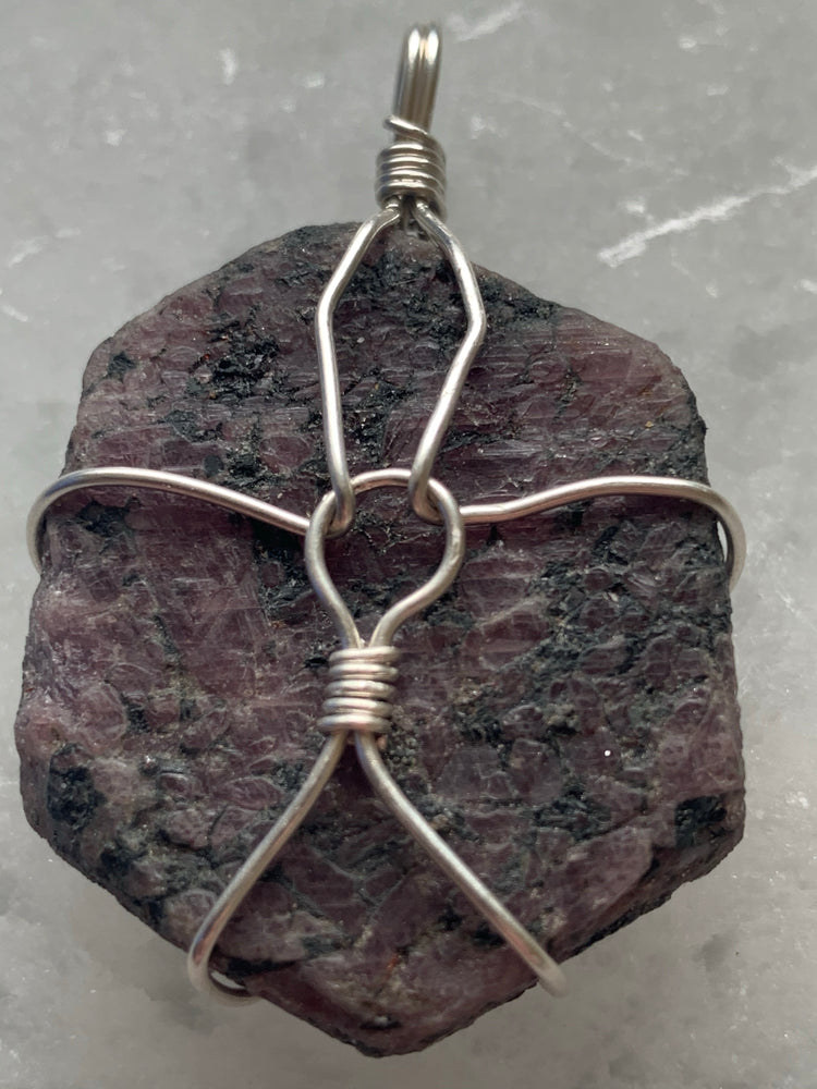 Ruby Record Keeper Wire Wrapped Pendant