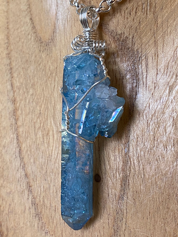 Aqua Aura Point Pendant Wire Wrapped