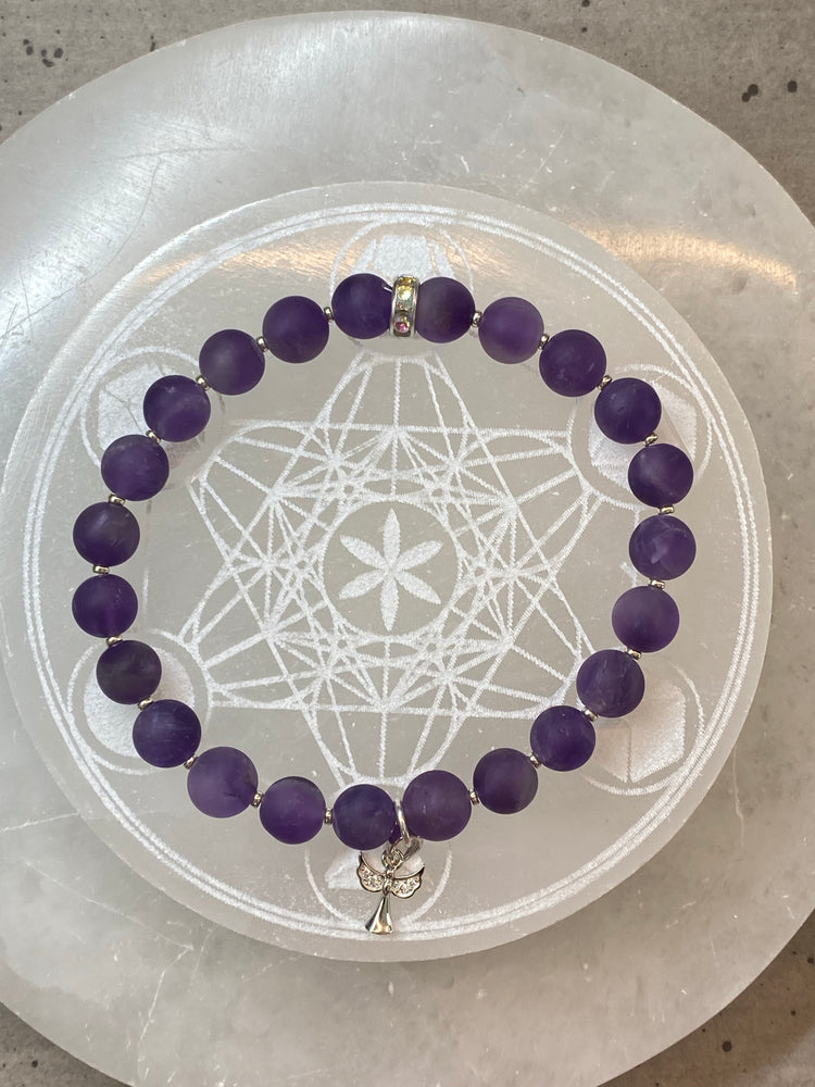 'Archangel Jeremial' Amethyst Bracelet with Sterling Silver Angel Charm