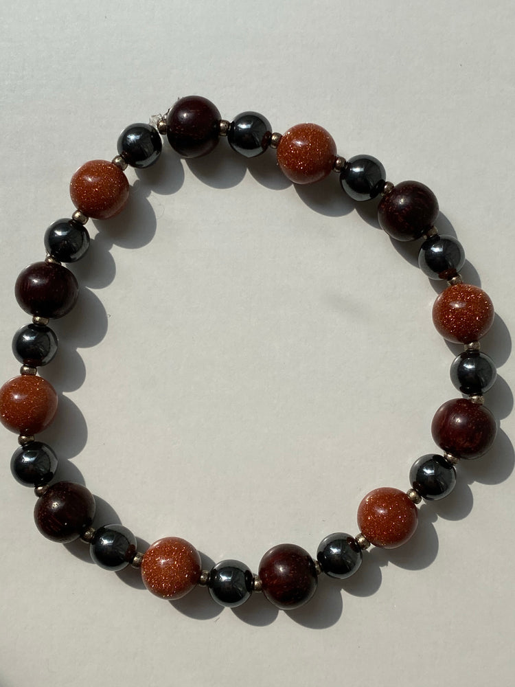 Goldstone, Rosewood and Hematite Bracelet