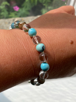 Blue Agate and Clear Quartz Bracelet
