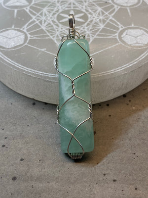 Caribbean Calcite Wire Wrapped Pendant