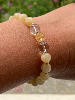 Citrine, Clear Quartz and Honey Calcite Bracelet