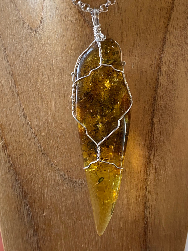 Amber Point Pendant Wire Wrapped