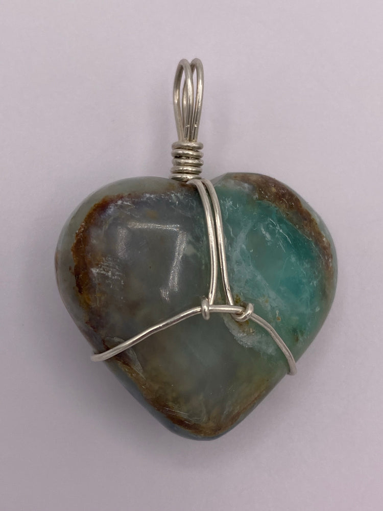 Blue Opal Heart Silver Wrapped Pendant