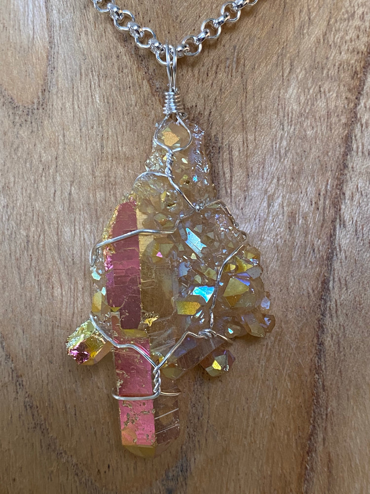 Sunset Aura Quartz Pendant Wire Wrapped