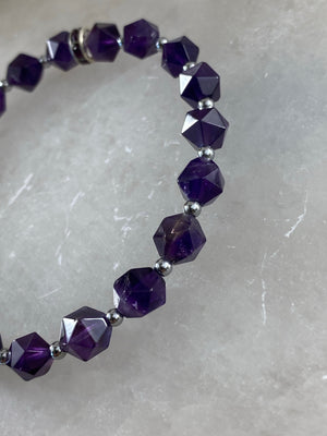 Amethyst Star Bracelet with Silver Colour Beads
