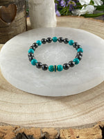 Hematite and Chinese Turquoise Bracelet