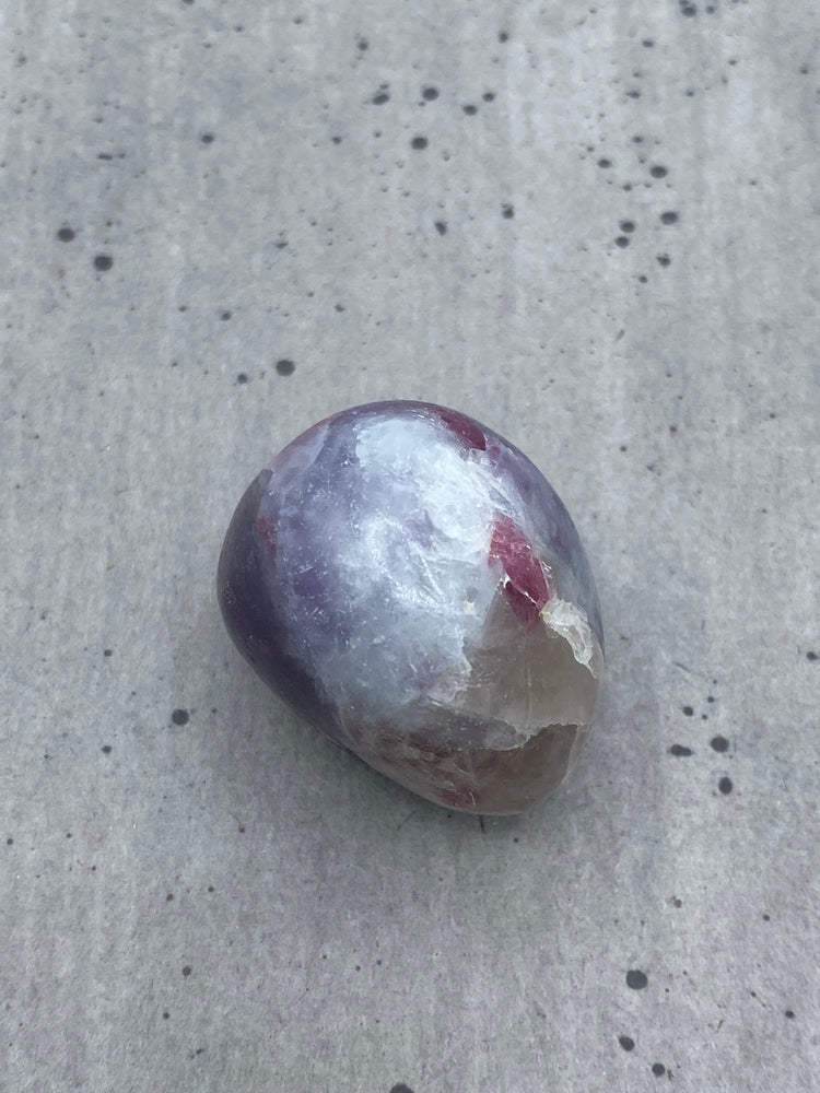 Lepidolite and Pink Tourmaline Pebble