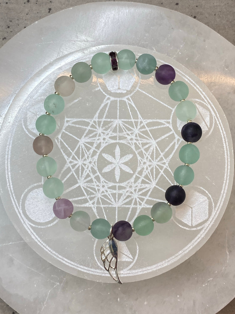 'Archangel Metatron' Fluorite Bracelet with Sterling Silver Angel Wing Charm