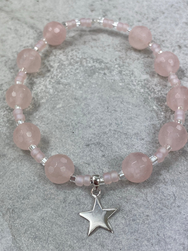 Rose Quartz Bracelet with Sterling Silver Star