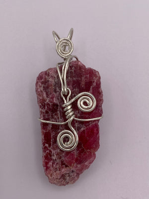 Rhodonite Silver Wrapped Pendant