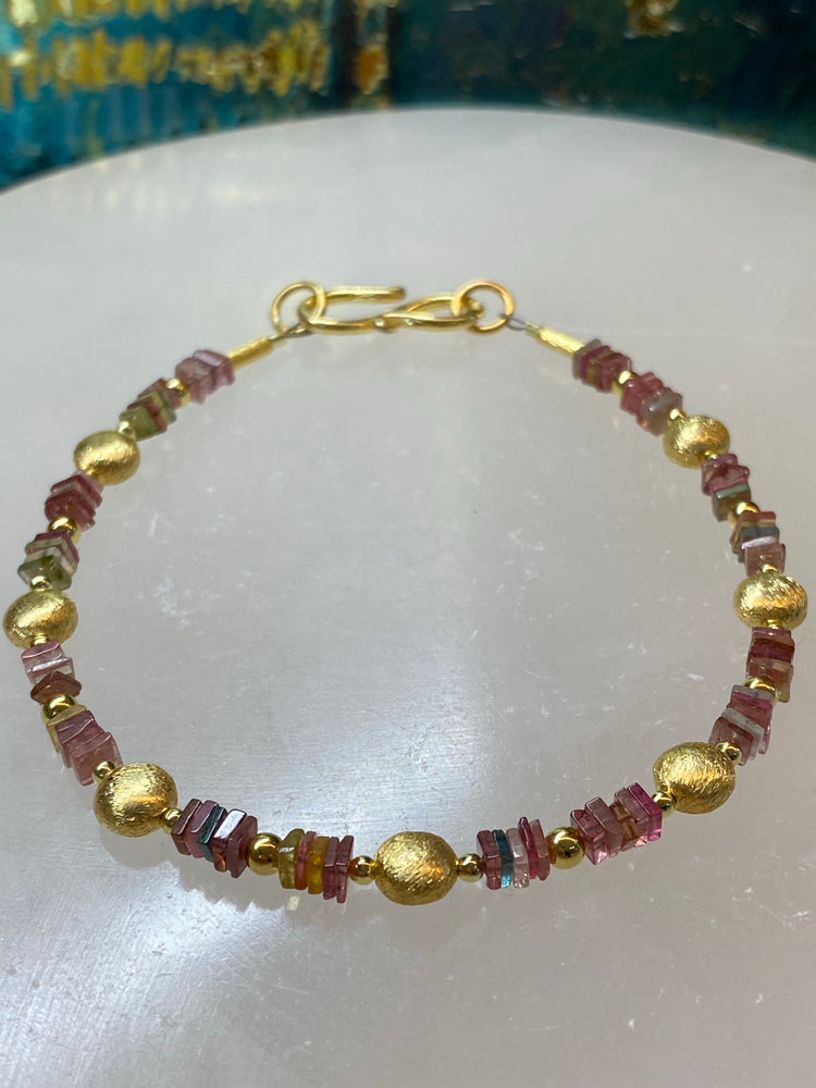 Watermelon Tourmaline Square Cut Bracelet