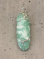 Pistachio Calcite Wire Wrapped Pendant