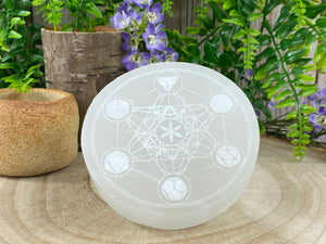 Selenite Plate with Metatrons Cube Design