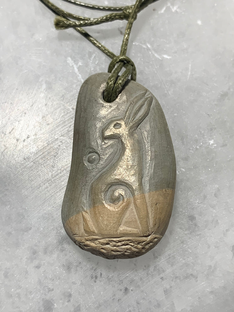 Hand Carved Stone Pendant with Hare