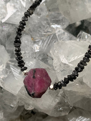 Black Diamond & Ruby 'Record Keeper' Necklace