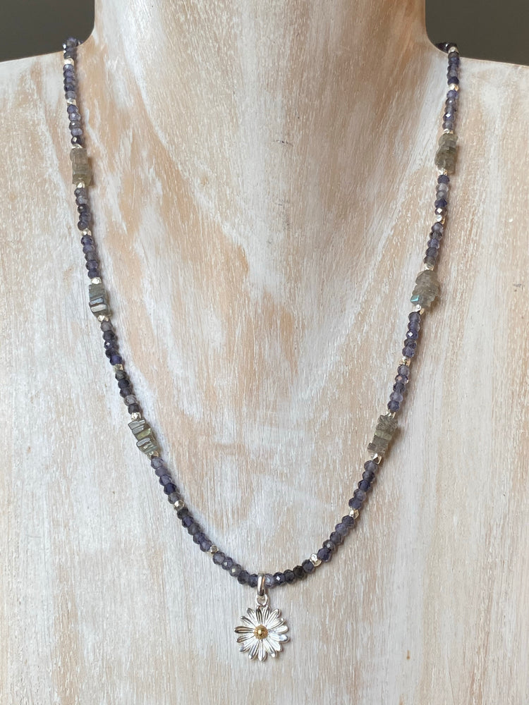 Iolite and Labradorite Necklace with Silver Daisy Pendant