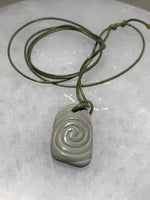 Hand Carve Stone Pendant with Swirl