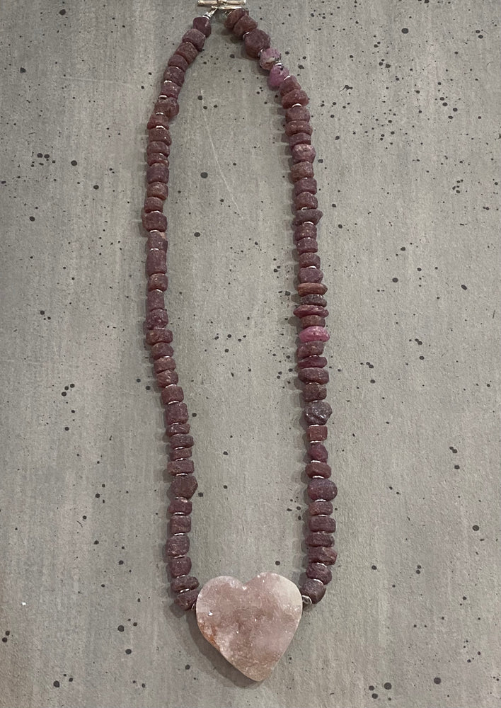 Raw Ruby Necklace with Druzy Agate Heart Pendant