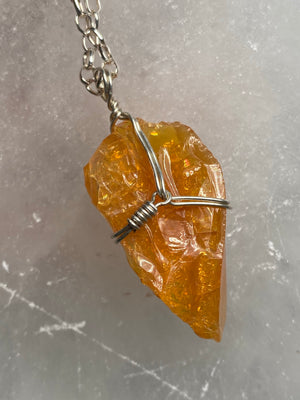 Fire Opal Sterling Silver Wrapped Pendant