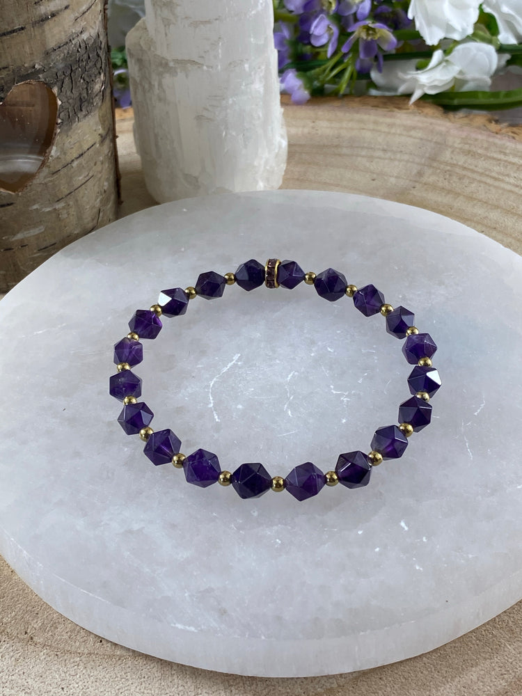 Amethyst Star Bracelet with Gold Colour Beads