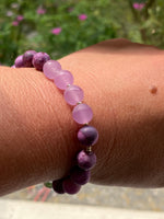 Lilac Coloured Agate and Clear Quartz Bracelet