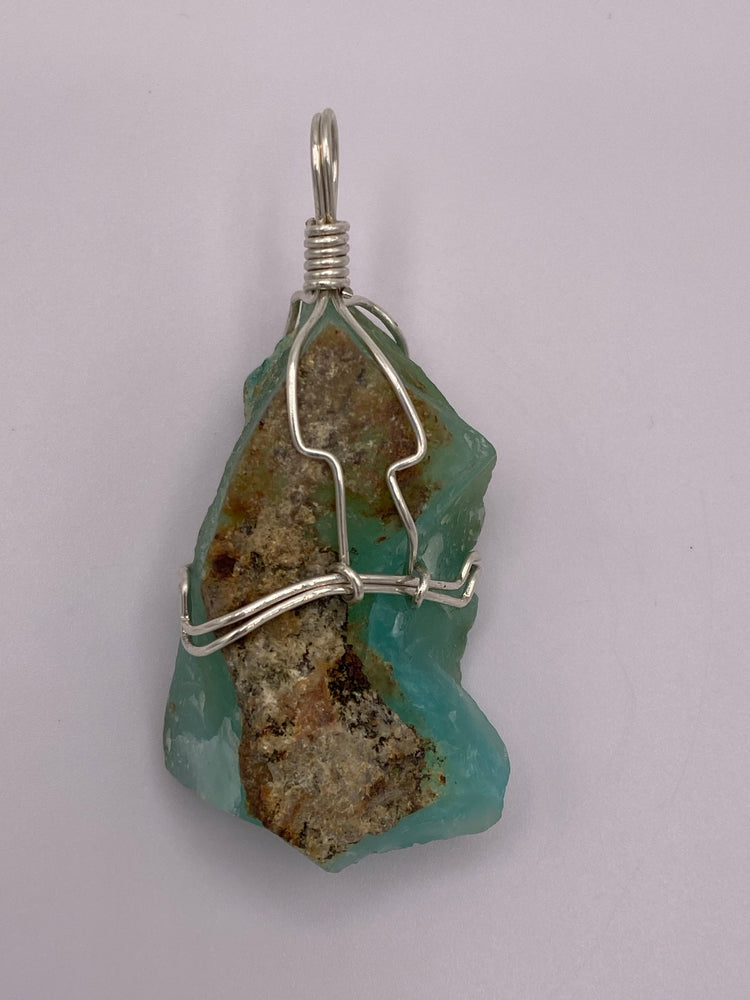 Raw Blue Opal Silver Wrapped Pendant