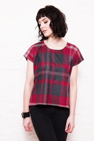 Assemble handmade kimono sleeve red woven tee relaxed view