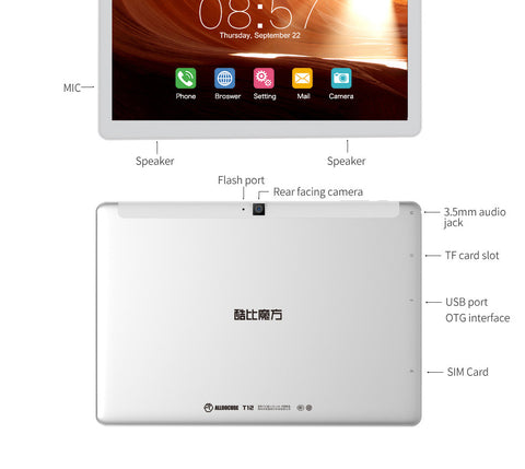 Cube T12 3G tablet is a 10.1 inch android 6.0 tablet. It has a MTK8321 Quad Core 1.3GHz cpu.