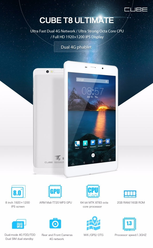 Cube T8 4G tablet is a 8 inch android 5.1 phablet and it is our best selling models.