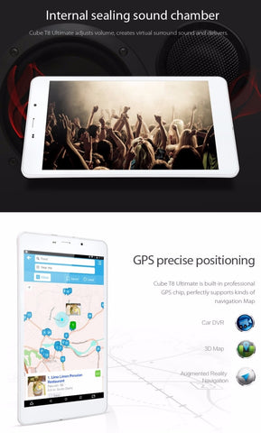 Cube T8 4G tablet is a 8 inch android 5.1 phablet and comes with gps.