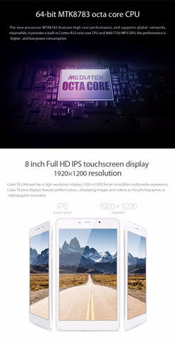 Cube T8 4G tablet is a 8 inch android 5.1 phablet. It has a 1920 x 1200 ips screen.