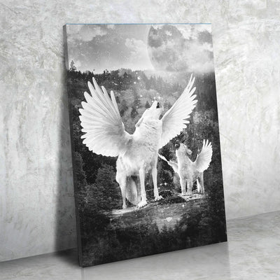 Winged Wolves Canvas Print Art