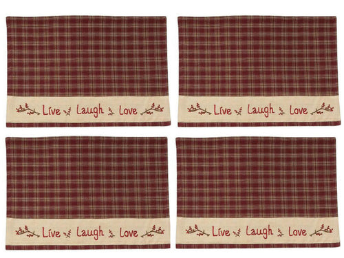 Park Designs Live Laugh Love Plaid Embroidered Placemat 13 x 19 Inches, Set of 4