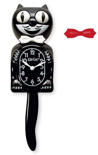 Kit-Cat Klock Black Gentleman Wall Clock White & Red Bow Ties Roll Eyes Wag Tail