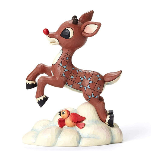 Jim Shore Rudolph The Red Nose Reindeer Flying Above Clouds Figurine, 7 Inches
