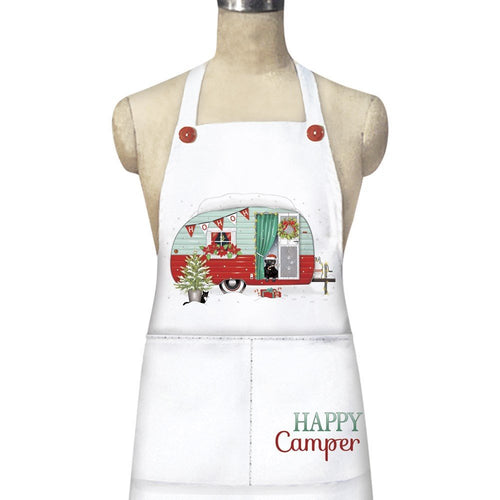 Mary Lake-Thompson Holiday Camper Apron Pockets 36 Inch Cotton Blend Red Buttons