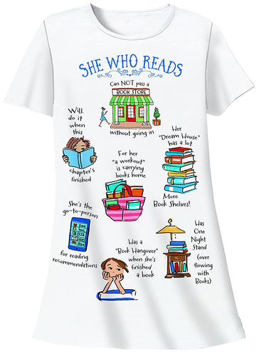 Relevant Products She Who Reads Nightshirt Book Lover Humor White One Size