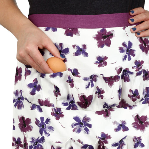 Cackleberry Home Chicken Egg Collecting & Gathering Apron 12 Pockets Lilac Bloom